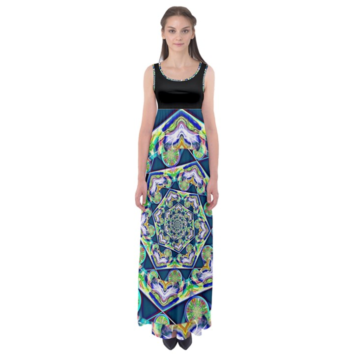 Power Spiral Polygon Blue Green White Empire Waist Maxi Dress
