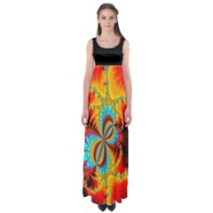 Crazy Mandelbrot Fractal red yellow turquoise Empire Waist Maxi Dress