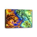 Abstract Fractal Batik Art Green Blue Brown Mini Canvas 6  x 4  View1