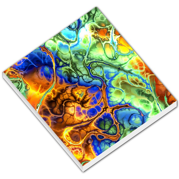 Abstract Fractal Batik Art Green Blue Brown Small Memo Pads