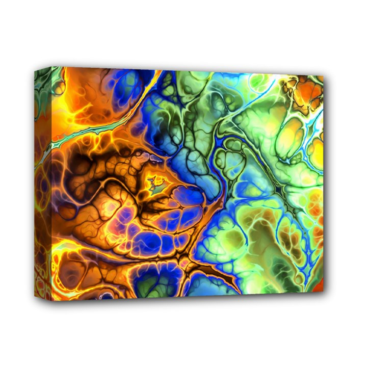 Abstract Fractal Batik Art Green Blue Brown Deluxe Canvas 14  x 11