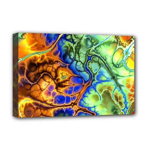 Abstract Fractal Batik Art Green Blue Brown Deluxe Canvas 18  x 12