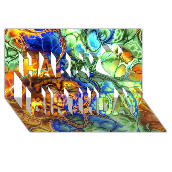 Abstract Fractal Batik Art Green Blue Brown Happy Birthday 3D Greeting Card (8x4)