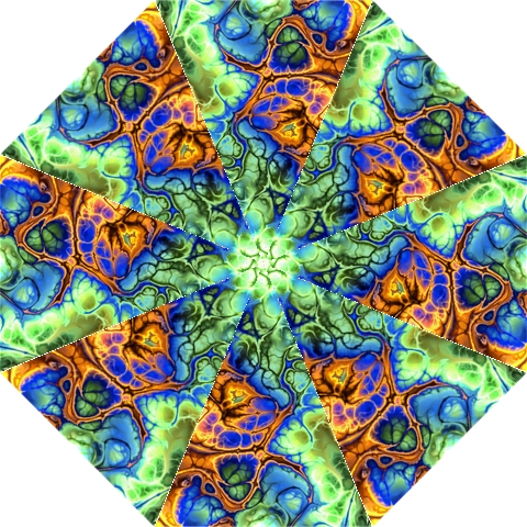 Abstract Fractal Batik Art Green Blue Brown Hook Handle Umbrellas (Large)