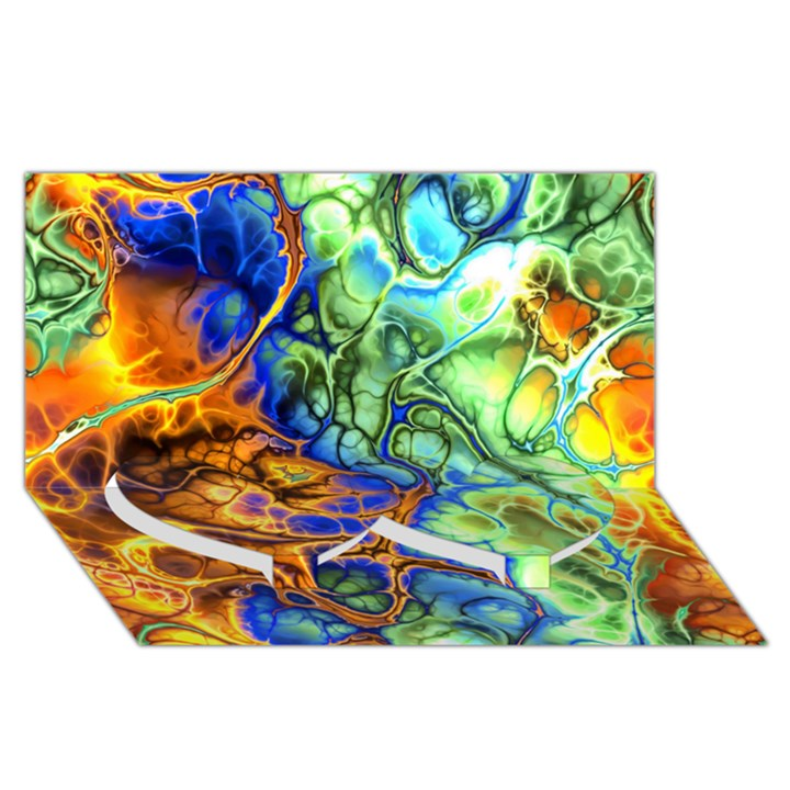 Abstract Fractal Batik Art Green Blue Brown Twin Heart Bottom 3D Greeting Card (8x4)