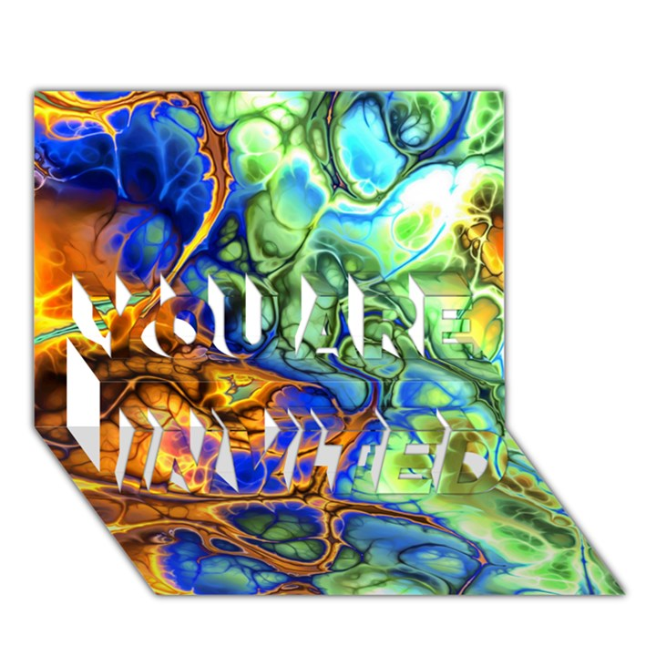 Abstract Fractal Batik Art Green Blue Brown YOU ARE INVITED 3D Greeting Card (7x5)