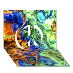Abstract Fractal Batik Art Green Blue Brown Peace Sign 3D Greeting Card (7x5)