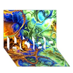 Abstract Fractal Batik Art Green Blue Brown Hope 3d Greeting Card (7x5)