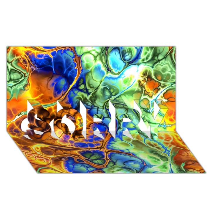 Abstract Fractal Batik Art Green Blue Brown SORRY 3D Greeting Card (8x4)