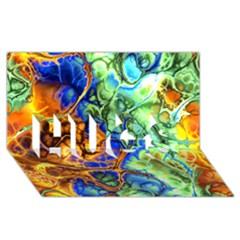Abstract Fractal Batik Art Green Blue Brown Hugs 3d Greeting Card (8x4)