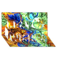 Abstract Fractal Batik Art Green Blue Brown Best Wish 3d Greeting Card (8x4)