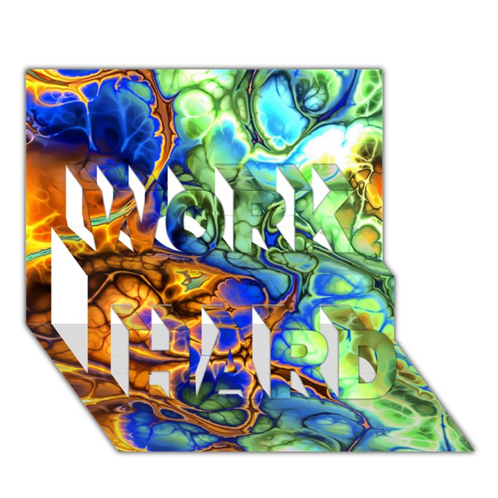 Abstract Fractal Batik Art Green Blue Brown WORK HARD 3D Greeting Card (7x5)