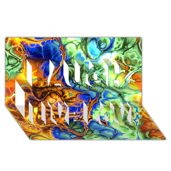 Abstract Fractal Batik Art Green Blue Brown Laugh Live Love 3D Greeting Card (8x4)