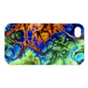 Abstract Fractal Batik Art Green Blue Brown Apple iPhone 4/4S Hardshell Case View1