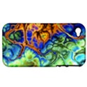 Abstract Fractal Batik Art Green Blue Brown Apple iPhone 4/4S Hardshell Case (PC+Silicone) View1