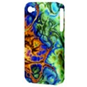 Abstract Fractal Batik Art Green Blue Brown Apple iPhone 4/4S Hardshell Case (PC+Silicone) View3