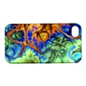 Abstract Fractal Batik Art Green Blue Brown Apple iPhone 4/4S Hardshell Case with Stand View1