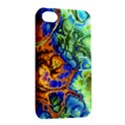 Abstract Fractal Batik Art Green Blue Brown Apple iPhone 4/4S Hardshell Case with Stand View2