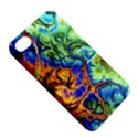Abstract Fractal Batik Art Green Blue Brown Apple iPhone 4/4S Hardshell Case with Stand View5
