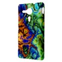 Abstract Fractal Batik Art Green Blue Brown Sony Xperia SP View3
