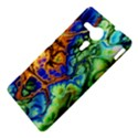 Abstract Fractal Batik Art Green Blue Brown Sony Xperia SP View4