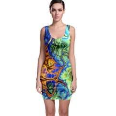 Abstract Fractal Batik Art Green Blue Brown Sleeveless Bodycon Dress