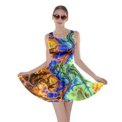 Abstract Fractal Batik Art Green Blue Brown Skater Dress