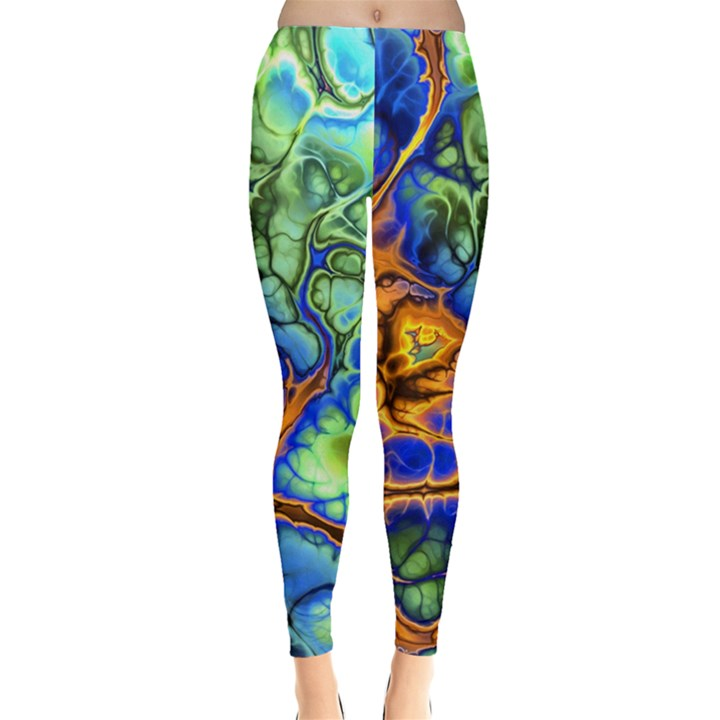 Abstract Fractal Batik Art Green Blue Brown Leggings