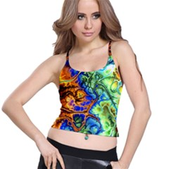 Abstract Fractal Batik Art Green Blue Brown Spaghetti Strap Bra Top
