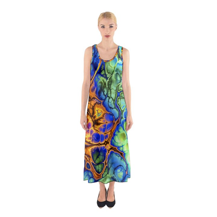 Abstract Fractal Batik Art Green Blue Brown Sleeveless Maxi Dress