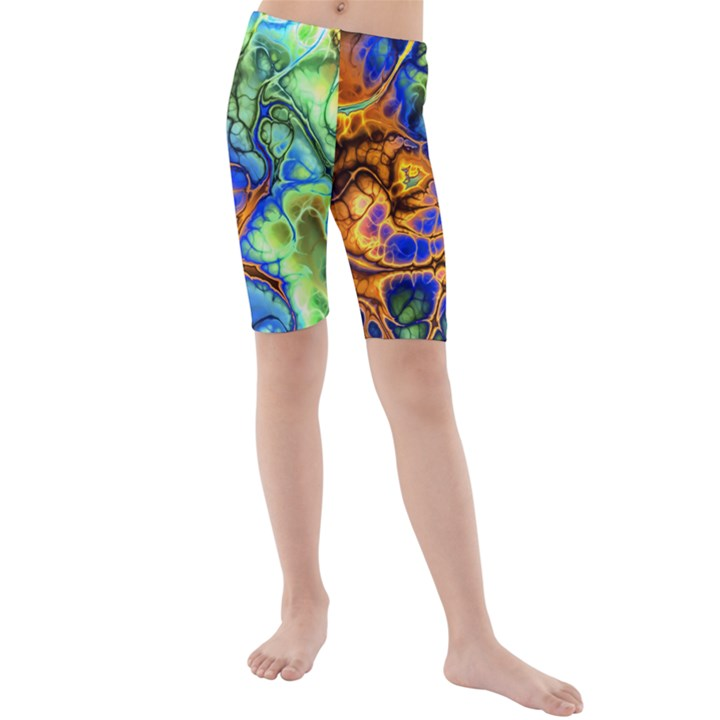 Abstract Fractal Batik Art Green Blue Brown Kids  Mid Length Swim Shorts