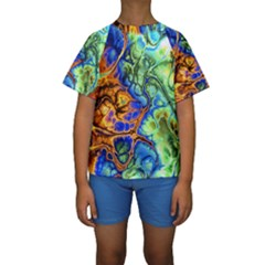 Abstract Fractal Batik Art Green Blue Brown Kids  Short Sleeve Swimwear