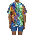 Abstract Fractal Batik Art Green Blue Brown Kids  Short Sleeve Swimwear View2