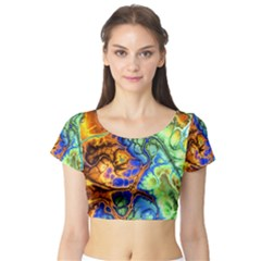 Abstract Fractal Batik Art Green Blue Brown Short Sleeve Crop Top (tight Fit)