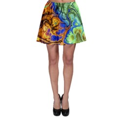 Abstract Fractal Batik Art Green Blue Brown Skater Skirt