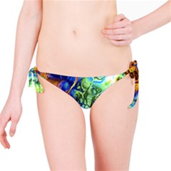 Abstract Fractal Batik Art Green Blue Brown Bikini Bottom