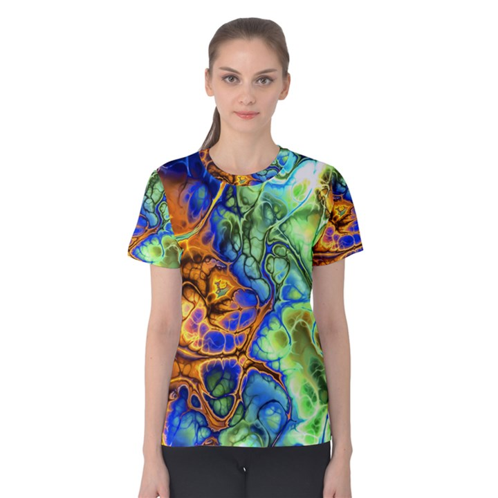 Abstract Fractal Batik Art Green Blue Brown Women s Cotton Tee