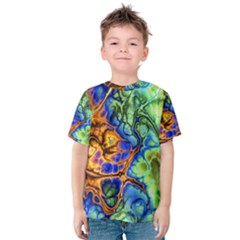 Abstract Fractal Batik Art Green Blue Brown Kids  Cotton Tee
