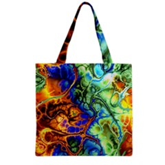Abstract Fractal Batik Art Green Blue Brown Grocery Tote Bag