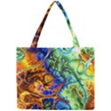 Abstract Fractal Batik Art Green Blue Brown Mini Tote Bag View1
