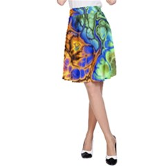 Abstract Fractal Batik Art Green Blue Brown A-Line Skirt