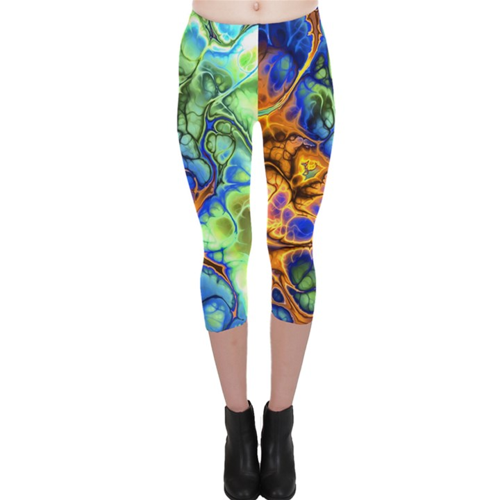 Abstract Fractal Batik Art Green Blue Brown Capri Leggings