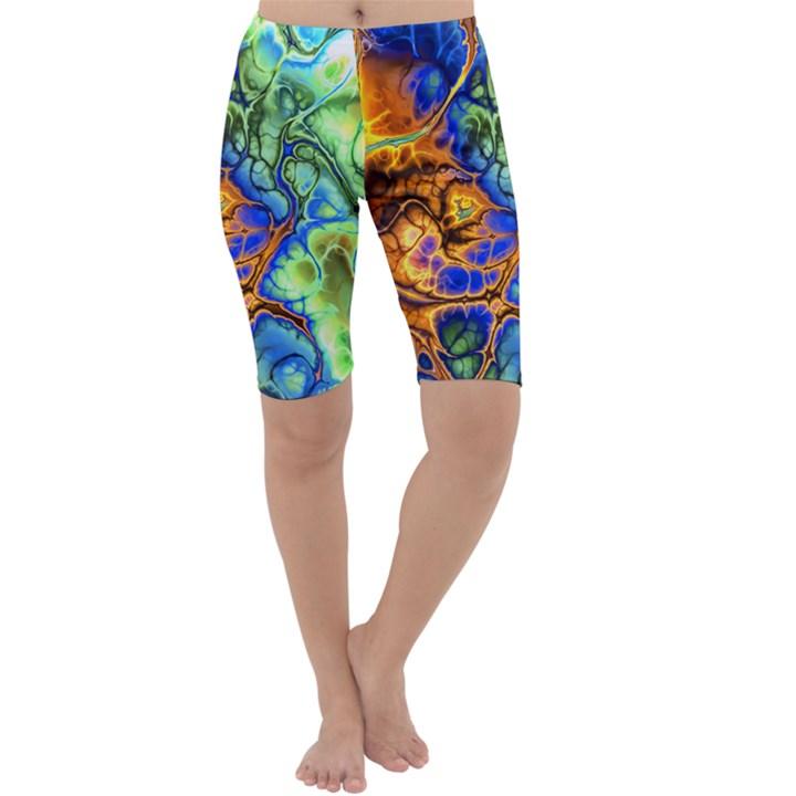 Abstract Fractal Batik Art Green Blue Brown Cropped Leggings