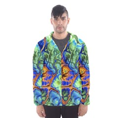 Abstract Fractal Batik Art Green Blue Brown Hooded Wind Breaker (Men)