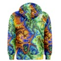 Abstract Fractal Batik Art Green Blue Brown Men s Pullover Hoodie View2