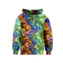 Abstract Fractal Batik Art Green Blue Brown Kids  Pullover Hoodie View1