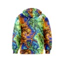 Abstract Fractal Batik Art Green Blue Brown Kids  Pullover Hoodie View2