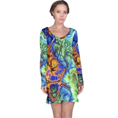 Abstract Fractal Batik Art Green Blue Brown Long Sleeve Nightdress