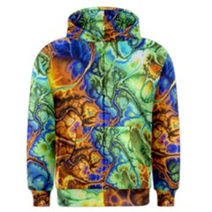 Abstract Fractal Batik Art Green Blue Brown Men s Zipper Hoodie