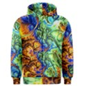 Abstract Fractal Batik Art Green Blue Brown Men s Zipper Hoodie View1